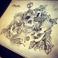 InkBrothers Skull Backpiece by InkBrothersNL
