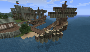 Two Ships at Port - Minecraft by Myrik-Tylo