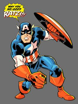 Captain America vs. some ratzi or other by TomMartinArt