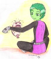 Beast Boy and Silkie by Mistralka