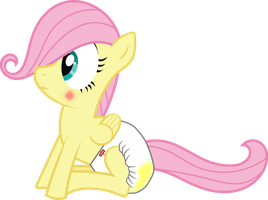 Filly Fluttershy Diapered (wet) by ThunderDasher07