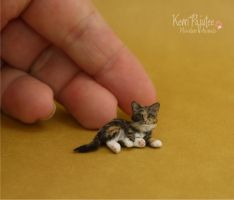 Miniature Kitten Sculpture of polymer clay/fiber by Pajutee