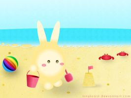 Bunny at the beach by tinytoast