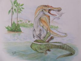 Spinosaurus and Sarcosuchus by T-PEKC