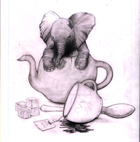 Elephant in tea pot by Coffeehouseartist