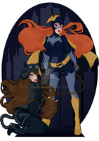 Trinquette : Catwoman and Batgirl by Sahyuri
