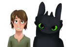 Hiccup and Toothless by Rhosgobel-Rabbit
