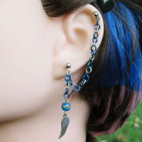 Blue and silver wing earring by merigreenleaf