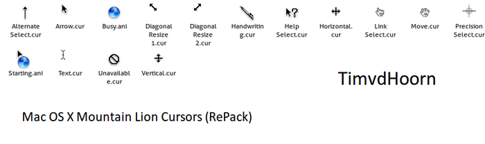 Mac OS X Mountain Lion Cursors by timvdhoorn
