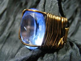 Blue topaz and bronze ring by BacktoEarthCreations
