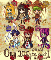 CLOSED! 200pts Alice in Wonderland Adopts by Sweet-Sisters
