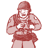 Soldier pointing at something in his fist by JoeHoofer