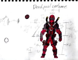 Deadpool Costume teenager size. by CarbonWOLF7