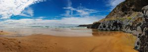 Bedruthan Steps Beach Panorama by runique