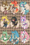 Eeveelution Adoptable Set [OPEN- PAYPAL+POINTS] by undead-alien