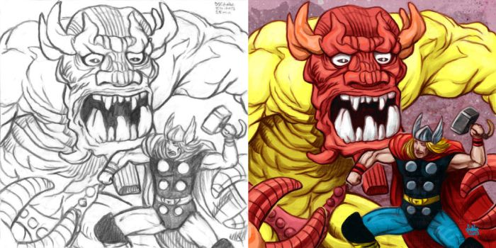 Daily Sketches Mangog vs Thor by fedde