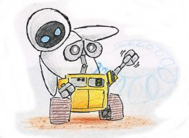 Eve and Wall-e... by Mickeymonster