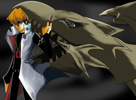 Seto Kaiba with Blue Eyes by thiro