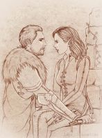 Sketch commission: Cullen and Delilah by Isbjorg
