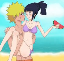 NaruHina at the Beach by Demon-Twin