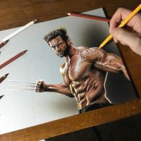 My portrait of Hugh Jackman as Wolverine by marcellobarenghi