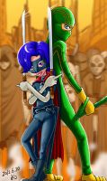 Hit-girl and Kick-ass by Y0KO