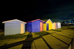 Nighttime Beach Houses by fazz1977