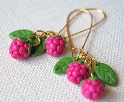 Raspberry Cluster Earrings by Madizzo