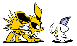 Jolteon and Litwick by JoeyWaggoner