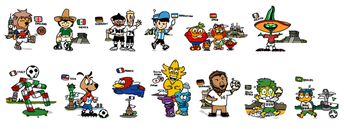 World Cup Mascots by DouglasArtGallery