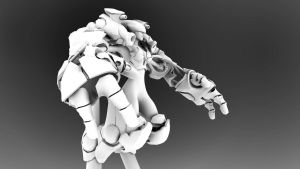 Female Cyborg Mech (WIP) by MikeBourbeauArt