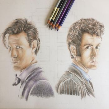 10th and 11th Doctor by LaetitiasPortraits