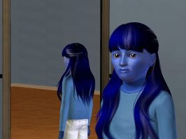 Sims 3 - My black hair turned dark blue by Magic-Kristina-KW