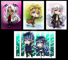 Chibis for WhiteZhadow by shrimpHEBY