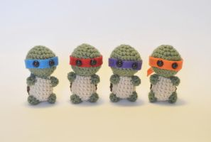 I crocheted tiny ninja turtles! by Tessa4244