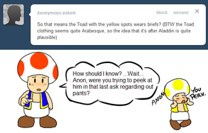 Ask Toad - Yellow wears Briefs? by pocket-arsenal