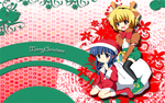 Satoko and Rika Christmas Wallpaper by dragoonbb