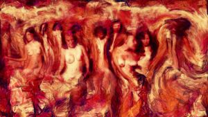 Damned girls burning in hell by Cyberalbi
