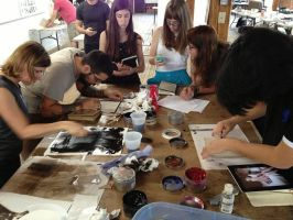 Students working on monotypes by theartdepartment