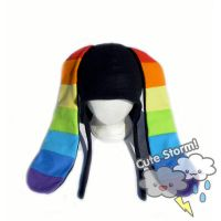 Black Rainbow Bunny Hat by The-Cute-Storm