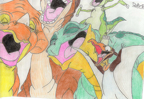 52 The Gang singing (coloured) by TheEvilHadrosaur
