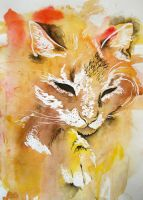 Cat painted with child by Vincik