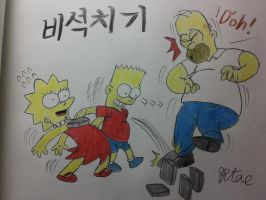 The simpsons:Bart and Lisa,playing 'Biseokchigi'. by komi114