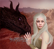 Dany and Drogon by Trisste