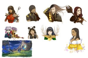 Guild Wars 2 sketches by Vassantha