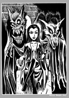 Mini Monster Ink Brush Drawing 10 VAMPIRE PRINCESS by BryanBaugh