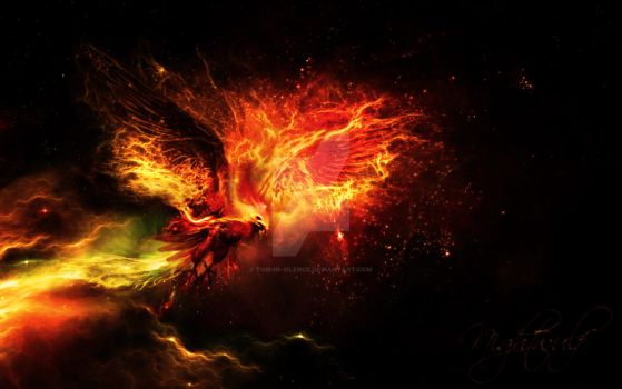 Phoenix from Nebula - fractalius - fire by Tom-in-Silence