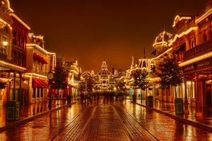 Main Street on a rainy night by azerinn
