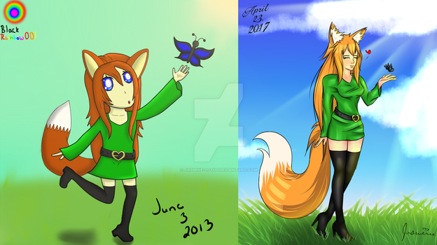 Fox Thing and Butterfly -Redraw by Jasmine-Lotus