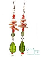 CORAL AND SHELL EARRINGS by simoneyvette
